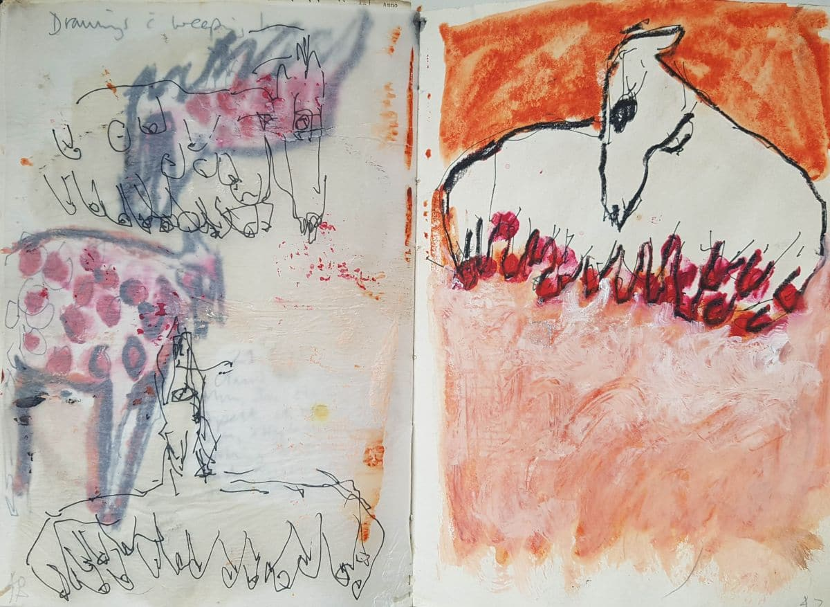All my weeping horses, and me. Sketchbook pages Kate Walters